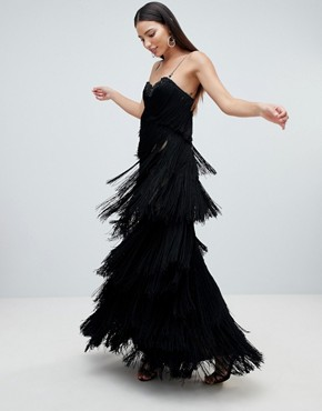 photo Cami Fringed Midaxi Dress by Forever Unique, color Black - Image 1