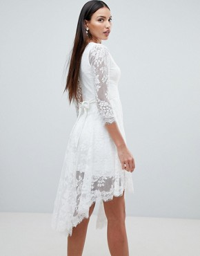 photo Lace Skater Dress with Sheer Lace Detail by Forever Unique, color Ivory - Image 2