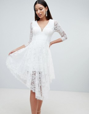 photo Lace Skater Dress with Sheer Lace Detail by Forever Unique, color Ivory - Image 1