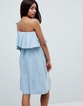 photo One Shoulder Chambray Dress by Mama.licious, color Light Blue Denim - Image 2