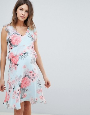 photo Floral Tea Dress by Mama.licious, color Multi - Image 1