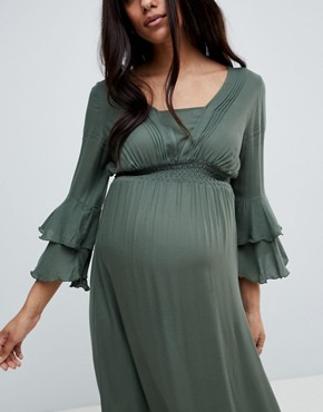 photo Woven Maxi Dress with Tiered Sleeve by Mama.licious, color Green - Image 3