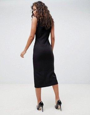 photo Midi Tux Dress with Gold Buttons by ASOS DESIGN Tall, color Black - Image 2