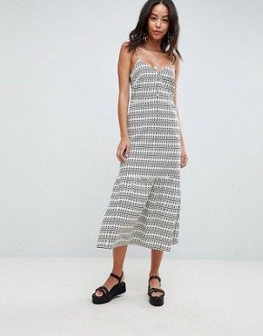 photo Pep Hem Maxi Slip Sundress in Aztec Print by ASOS DESIGN Tall, color Multi - Image 4