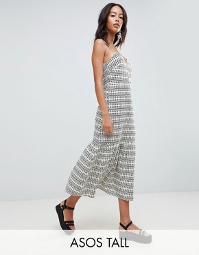 photo Pep Hem Maxi Slip Sundress in Aztec Print by ASOS DESIGN Tall, color Multi - Image 1