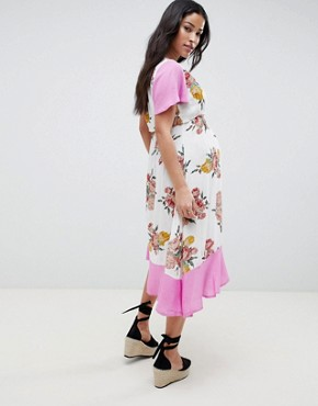 photo Maternity Nursing Double Layer Dress in Floral Print by ASOS DESIGN, color Multi - Image 2