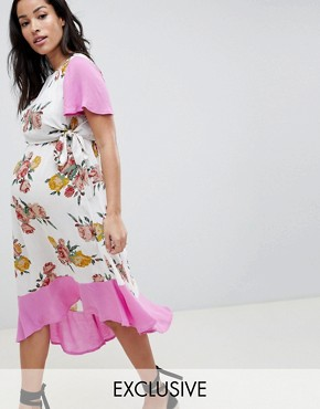 photo Maternity Nursing Double Layer Dress in Floral Print by ASOS DESIGN, color Multi - Image 1