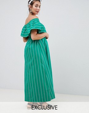 photo Maternity Bandeau Maxi Dress in Stripe by ASOS DESIGN, color Multi - Image 1