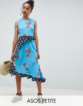 photo Sleeveless Midi Dress in Mix and Match Floral Print by ASOS DESIGN Petite, color Multi - Image 1