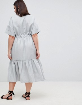 photo Linen Maxi Shirt Dress with Belt Detail and Pep Hem by ASOS DESIGN Curve, color Blue - Image 2