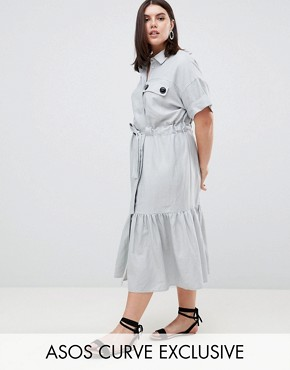 photo Linen Maxi Shirt Dress with Belt Detail and Pep Hem by ASOS DESIGN Curve, color Blue - Image 1