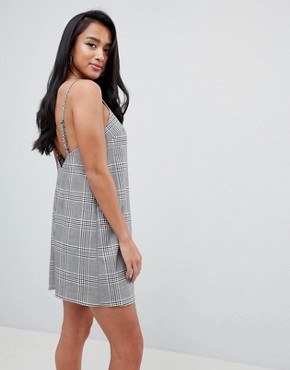 photo Mini Check Square Neck Cami Dress by ASOS DESIGN Petite, color Multi - Image 2