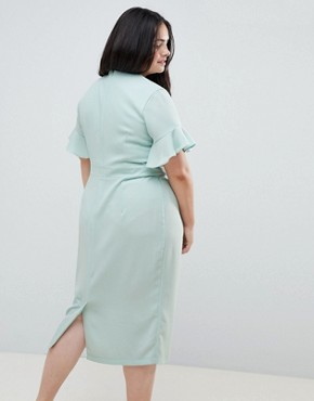 photo Midi Wiggle Dress with Fluted Sleeve by ASOS DESIGN Curve, color Sage - Image 2
