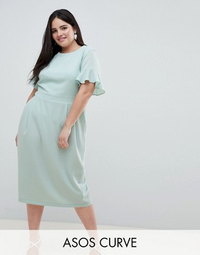 photo Midi Wiggle Dress with Fluted Sleeve by ASOS DESIGN Curve, color Sage - Image 1