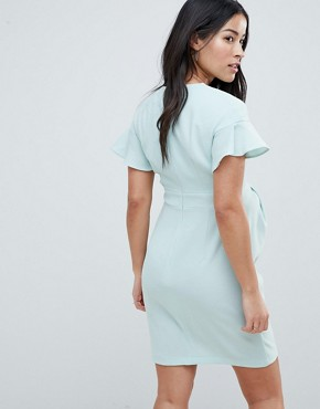photo Maternity Mini Wiggle Dress with Fluted Sleeve by ASOS DESIGN, color Sage - Image 2