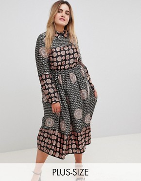 photo Long Sleeve Belted Printed Maxi Dress by Uttam Boutique Plus, color Black - Image 1