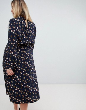 photo Long Sleeve Floral Midi Dress by Uttam Boutique Plus, color Navy - Image 2