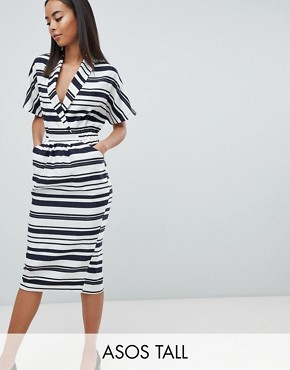 photo Stripe Linen Midi Dress with Pockets by ASOS DESIGN Tall, color Multi - Image 1