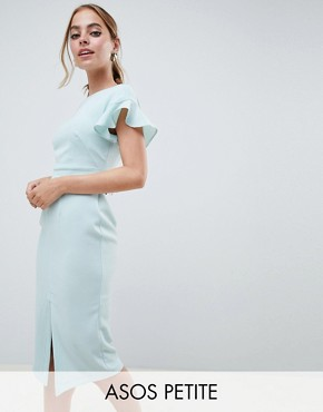 photo Midi Wiggle Dress with Fluted Sleeve by ASOS DESIGN Petite, color Sage - Image 1