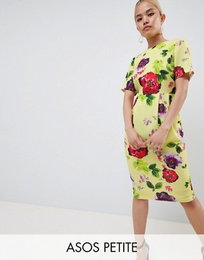 photo Yellow Floral Midi Wiggle Dress by ASOS DESIGN Petite, color Multi - Image 1