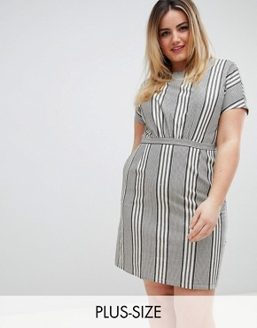 photo Striped Skater Dress by Uttam Boutique Plus, color Black - Image 1
