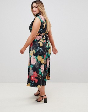 photo High Neck Floral Belted Maxi Dress by Uttam Boutique Plus, color Multi - Image 2