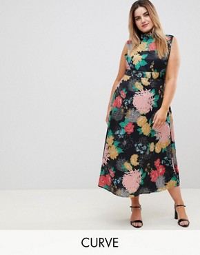 photo High Neck Floral Belted Maxi Dress by Uttam Boutique Plus, color Multi - Image 1