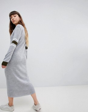 photo Jumper Dress with Contrast Stripe Sleeve by Daisy Street, color Grey - Image 2