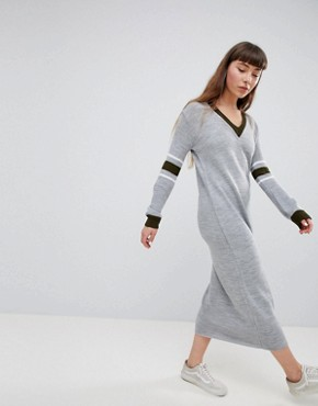 photo Jumper Dress with Contrast Stripe Sleeve by Daisy Street, color Grey - Image 4