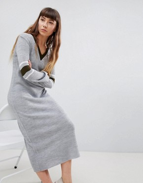 photo Jumper Dress with Contrast Stripe Sleeve by Daisy Street, color Grey - Image 1
