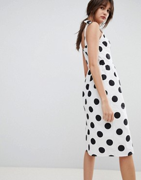 photo Midi Sun Dress with Button Front in Spot by Neon Rose, color White - Image 2