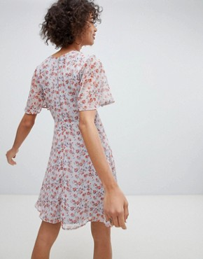 photo Tie Front Tea Dress in Vintage Floral by Neon Rose, color Multi - Image 2