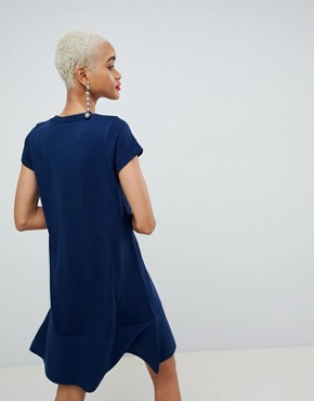 photo Knitted Dress with Frill Hem and Short Sleeve by ASOS DESIGN, color Navy - Image 2