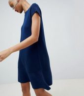 photo Knitted Dress with Frill Hem and Short Sleeve by ASOS DESIGN, color Navy - Image 1