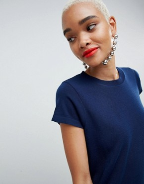 photo Knitted Dress with Frill Hem and Short Sleeve by ASOS DESIGN, color Navy - Image 3