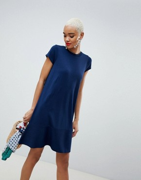 photo Knitted Dress with Frill Hem and Short Sleeve by ASOS DESIGN, color Navy - Image 4