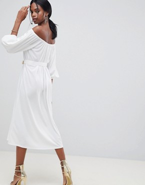 photo Bardot Midi Dress with Belt by ASOS DESIGN, color White - Image 2