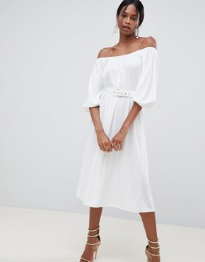 photo Bardot Midi Dress with Belt by ASOS DESIGN, color White - Image 1