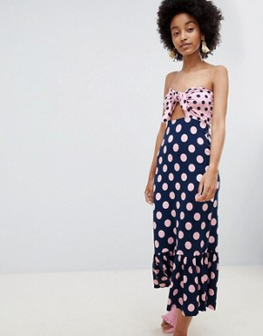 photo Bandeau Tie Front Maxi Sundress in Contrast Spot Print by ASOS DESIGN, color Pink/Navy - Image 1
