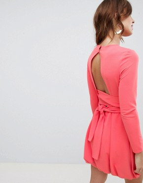 photo Mini Shift Dress with Gathered Hem and Wrap Belt by ASOS DESIGN, color Coral - Image 2