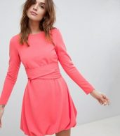 photo Mini Shift Dress with Gathered Hem and Wrap Belt by ASOS DESIGN, color Coral - Image 1