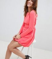 photo Mini Shift Dress with Gathered Hem and Wrap Belt by ASOS DESIGN, color Coral - Image 4