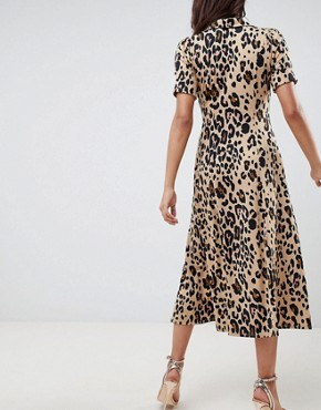 photo Animal Print Midi Tea Dress by ASOS DESIGN, color Animal Print - Image 2
