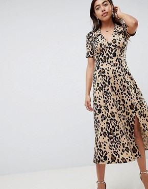 photo Animal Print Midi Tea Dress by ASOS DESIGN, color Animal Print - Image 1
