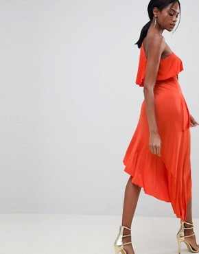 photo One Shoulder Drapey Tiered Midi Dress by ASOS DESIGN, color Burnt Orange - Image 2