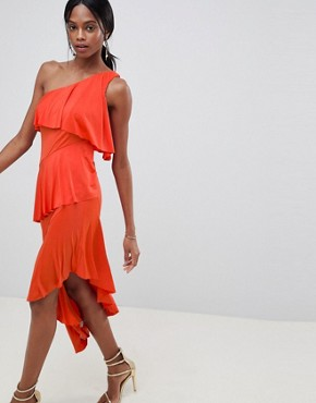 photo One Shoulder Drapey Tiered Midi Dress by ASOS DESIGN, color Burnt Orange - Image 1