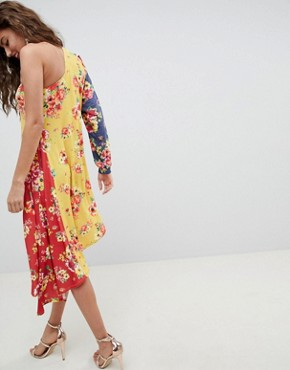 photo One Shoulder Midi Dress in Colourblock Floral Print by ASOS DESIGN, color Floral Print - Image 2
