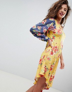 photo One Shoulder Midi Dress in Colourblock Floral Print by ASOS DESIGN, color Floral Print - Image 1