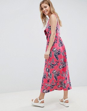 photo Tie Front Skater Maxi Dress with Buttons in Hawaiian Print by ASOS DESIGN, color Hawaiin Print - Image 2