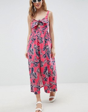 photo Tie Front Skater Maxi Dress with Buttons in Hawaiian Print by ASOS DESIGN, color Hawaiin Print - Image 1